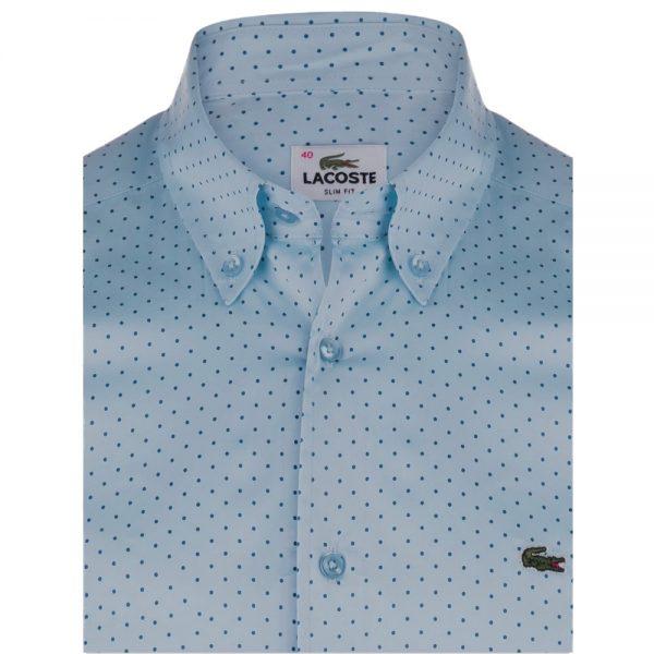 chemise lacoste bleu clair col